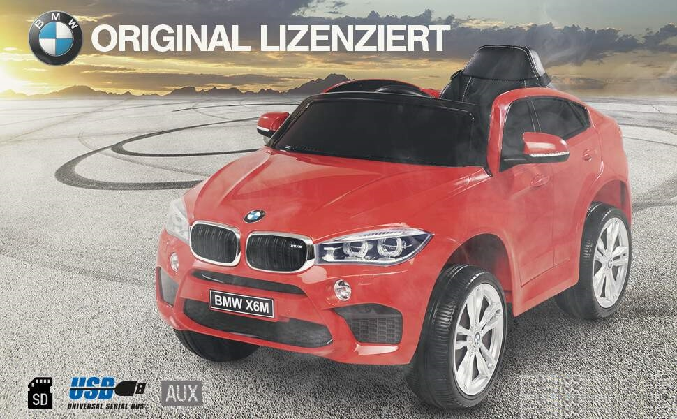 kinder elektroauto bmw x6m f16 lizenziert rot. Black Bedroom Furniture Sets. Home Design Ideas